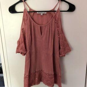 Lace open shoulder blouse